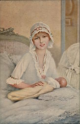 Smiling Woman with Hand on Infant