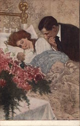 Man Leaning Over Woman in Bed Holding Infant