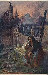 Dark-Haired Woman Holding Baby Sitting Amid Ruins