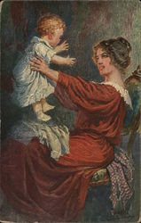 Woman Holding Up Baby in White Dress, Shoes