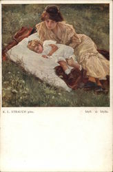 Woman in Gold Dress Laying in Grass Near Sleeping Child