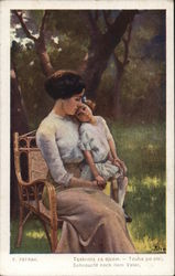 Young Girl Sitting with Woman in Chair Outdoors
