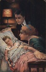 Man and Woman Next to Sleeping Child