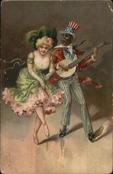 Man in Patriotic Suit Playing Banjo Near Dancing Woman