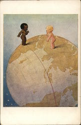 Two Babies of Different Races Standing on World