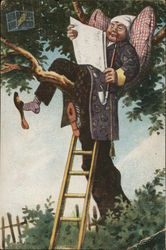 Man in Treetop with Newspaper and Pipe