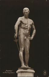 Sculpture of Nude Man Holding Sword