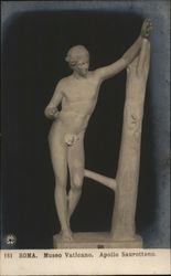 Sculpture of Nude Man Leaning Against Tree
