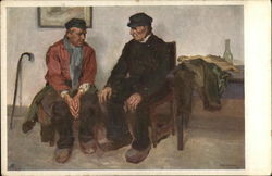 Two Seated Men Talking, Both Wearing Hats