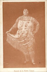 Heavy-Set, Tattooed Woman Holding Edge of Dress