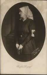 WWI Nurse Wearing White Scarf Holding Rosary Beads Postcard