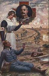 Nurse Standing Near Injured Man on Battlefield, Soldier Inset