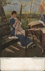 Woman Sewing, Seated on Bench Outdoors