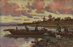 Four Men Load A Flock Of Sheep On A Boat