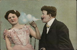 Man Blows Cigarette Smoke Towards Woman In Pink Gown