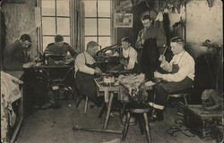 Tailors Men Working at Sewing Machines, Table
