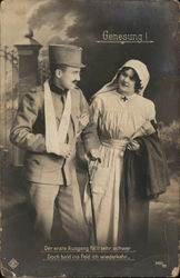 Soldier with Cane Walking with Uniformed Nurse