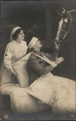 Nurse Assists Soldier Patient Who Pets His Horse Postcard
