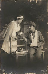 Wounded soldier with nurse
