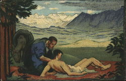 Man Helping Another Man Near Mountains - Red Cross