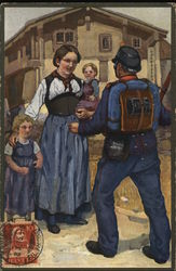 Soldier Greeting Woman with Two Children