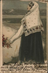 Red Cross In the mountains - Russian woman in shawl