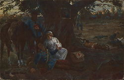 Nurse in White Tending to Injured Soldier Beneath Tree