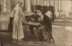 Nurse Standing Near Two Soldiers Playing Cards