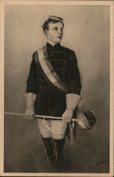 Fencing Uniformed Man Holding Sword with Gloved Hands