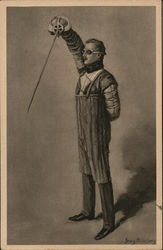 Fencing Man with Sword Pointed Downward Wearing Fencing Gear