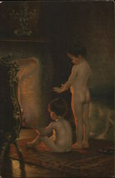 Two Nude Children Warming Themselves Near Fireplace