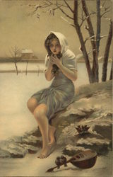 Girl in Summery Dress in Snow, Instrument on Ground