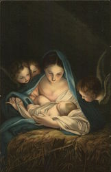 Woman in Blue Wrap Holding Baby, Child Angels Looking