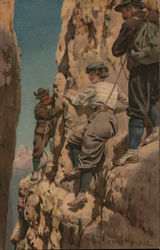 Ernst Platz Reproduction, Two Men and a Woman Mountain Climbing
