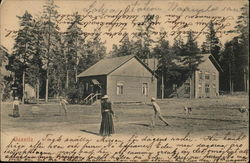 People Playing Tennis Near Trees, Houses