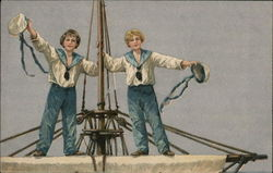 Two Sailor Boys Standing on Mast Waving Hats