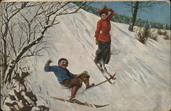 Man and Woman Skiing Down Hill, Man has Fallen