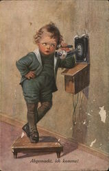 Young Child Standing on Stool Using Telephone