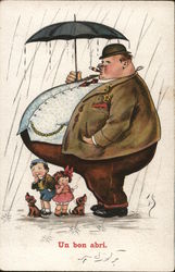 Two Children, Puppies Standing Under Fat Man's Belly in Rain