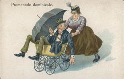 A cartoon of a woman pushing a man, holding an umbrella, in a baby carriage.