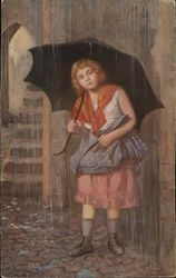 Young Girl Holds An Umbrella In Pouring Rain