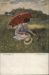 Woman with Parasol in Field Picking Flower