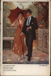 Suited Man in Cane Walking with Woman Carrying Parasol