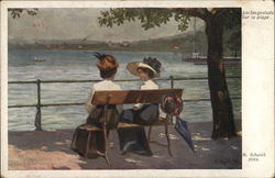 Two Ladies on Bench Near Water's Edge