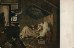 Man Laying in Bed Beneath House Eave with Umbrella Above