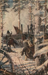 Soldiers on Horseback Riding Through Snowy Trees
