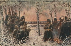 Soldiers and Prisoners in Snowy Wooded Area