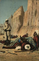 Soldier with Bayonet Standing Near Dead Bodies