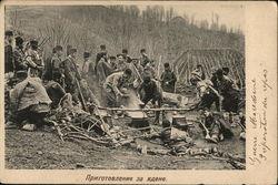 Soldiers at Camp on Hillside with Large Kettles