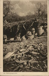 Soldiers with Weapons in Earthen Trench